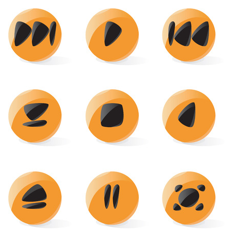 player controls: Set of smooth and glossy media player buttons. Vector illustration.  Illustration