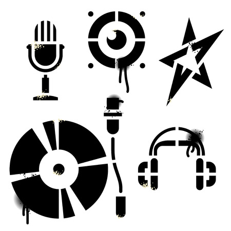 Stencil music icons. Contains no traced images. All elements are drawn by hand. True stencil shapes, drops, splats and blends are in separate layers. Editable vector Illustration. Vector