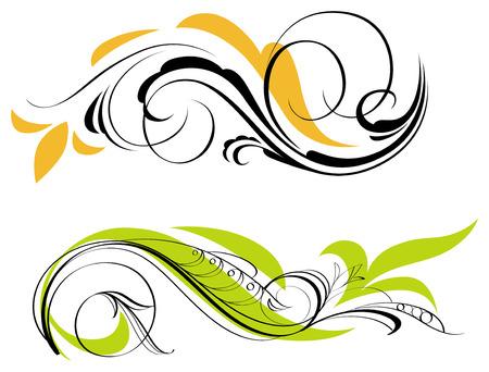 spiral vector: Two swirl decorations. Vector illustration. Illustration