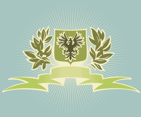 Green shield with eagle. Vector illustration. Vector