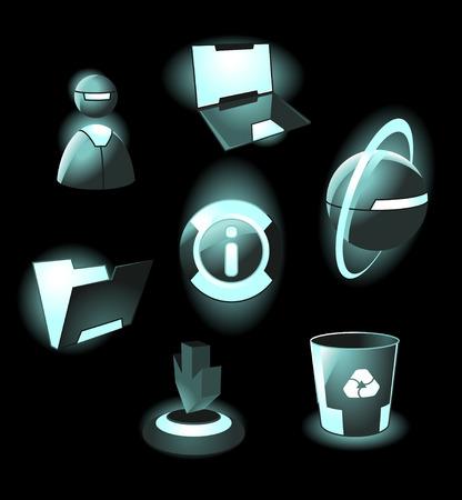 Hi-tech space light icons: laptop, user, web, info, folder, download, recycle bin. Vector illustration. Vector