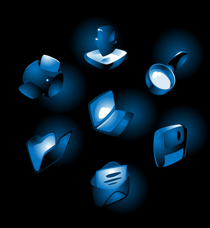Luminous blue icons for computer and website: laptop, print, download, folder, save, e-mail, find. Vector illustration. Vector