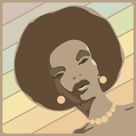 Black disco lady vamp. Vector illustration. Vector