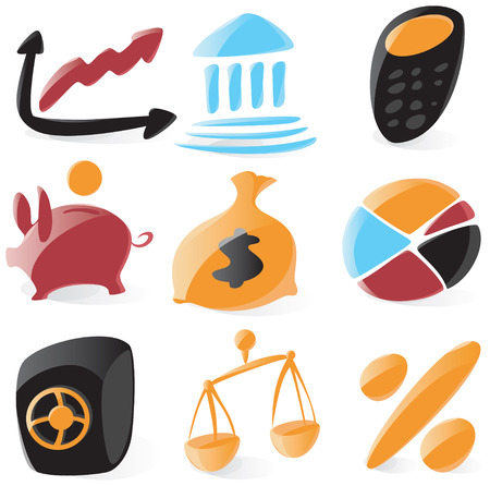 Set of smooth and glossy finance icons. Vector illustration. Letter $ is not part of any existing font, it was drawn by hand. Vector