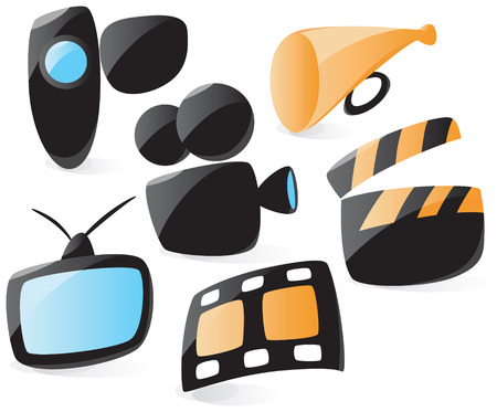 Set of smooth and glossy movie icons. Vector illustration.  Vector