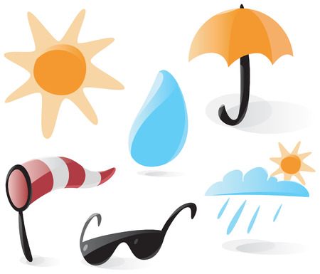 Set of smooth and glossy weather icons. Vector illustration.  Vector