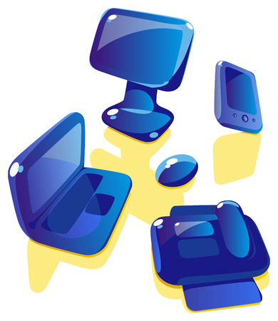 Glossy icons of computer and devices. Vector illustration. Vector