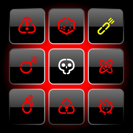 bombshell: Buttons with symbols of danger. Vector illustration.