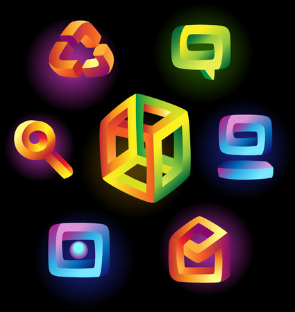 iridescent: Paradoxical icons of iridescent colors. Vector illustration.  Illustration