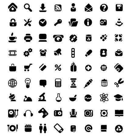 Set van 72 iconen voor website-, computer-, zakelijke-, winkel-, wetenschap, onderwijs en muziek. Vector illustratie. Vector Illustratie