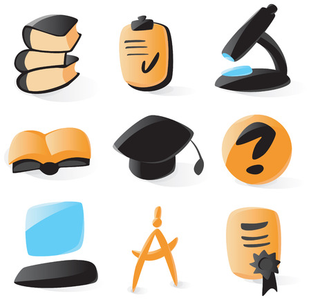 Set of smooth and glossy education icons. Vector illustration. Letter '?' is not part of any existing font, it was drawn by hand. Stock Vector - 5227245
