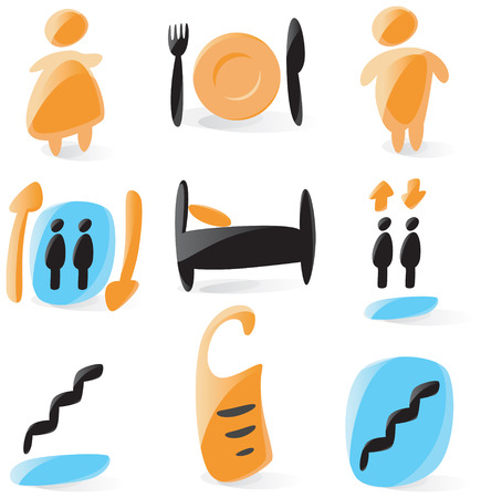 Set of smooth and glossy hotel icons. Vector illustration.  Vector