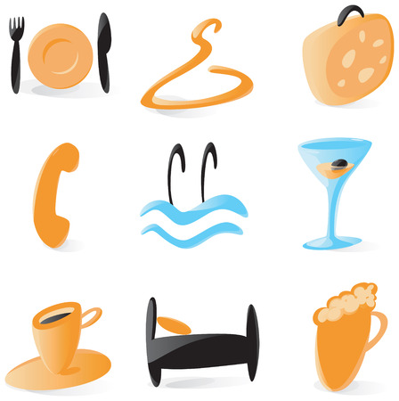 Set of smooth and glossy icons for hotel services. Vector illustration.  Stock Vector - 5227264