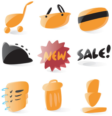 Set of smooth and glossy online shop icons. Vector illustration. Letters are not part of any existing font, all the characters were drawn by hand.