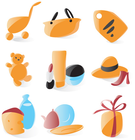 Set of smooth and glossy shopping icons. Vector illustration.  Vector