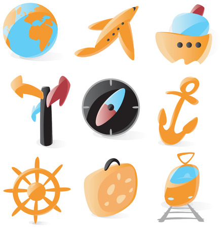 Set of smooth and glossy travel icons. Vector illustration.  Vector
