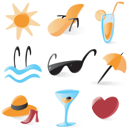 Set of smooth and glossy icons for vacations and resort. Vector illustration.  Vector