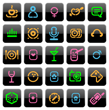 Buttons for leisure, recreation and entertainment. Vector illustration. Vector