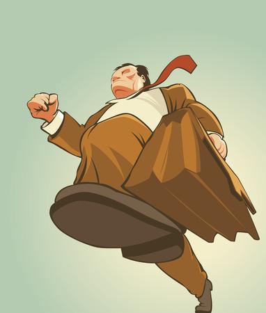 Hombre de mediana edad con traje, corriendo con la cartera en la mano,