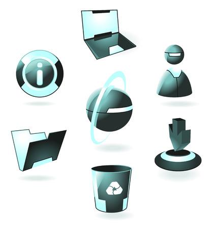papelera de reciclaje: Hi-tech iconos luminosos: ordenador port�til, el usuario, web, informaci�n, carpeta, descarga, papelera de reciclaje. Ilustraci�n del vector.