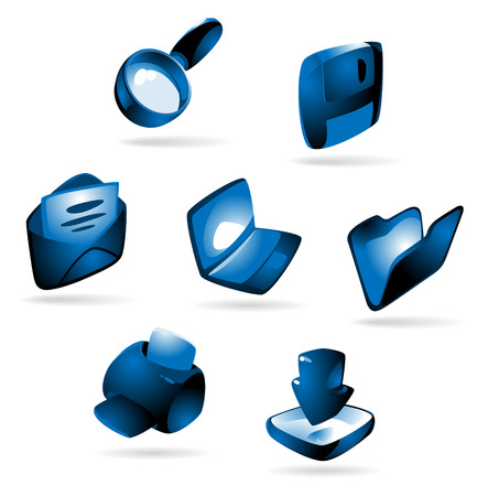 download folder: Luminous blue icons for computer and website: laptop, print, download, folder, save, e-mail, find. Vector illustration.