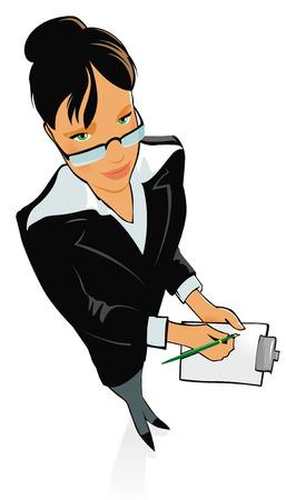 Joven mujer hermosa con un traje y anteojos, con lápiz y papel en las manos. Ilustración del vector.
