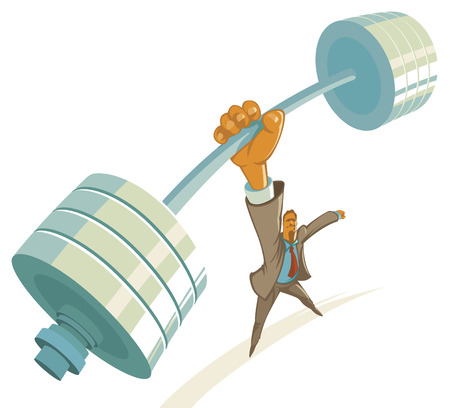 Powerful businessman lifting barbell by one hand. Vector illustration.