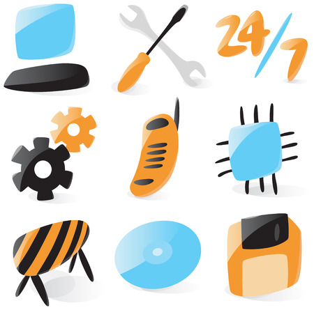 fix gear: Set of smooth and glossy icons for computer services. Vector illustration. Figures are not part of any existing font, all the figures were drawn by hand.