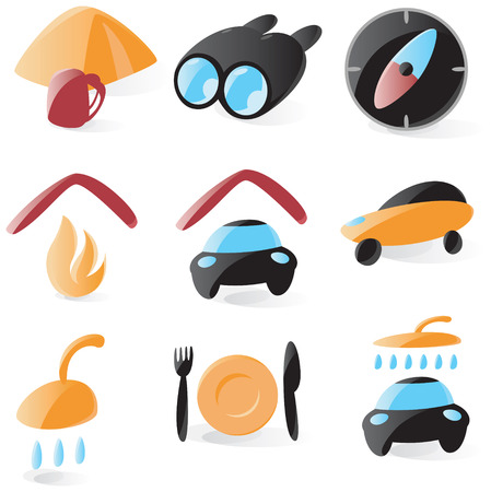 Set of smooth and glossy outdoors and camping icons. Vector illustration.  Vector