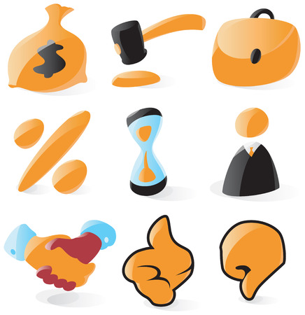 Set of smooth and glossy sales and auction icons. Vector illustration. Letters ($, %) are not part of any existing font, all the characters were drawn by hand. Vector