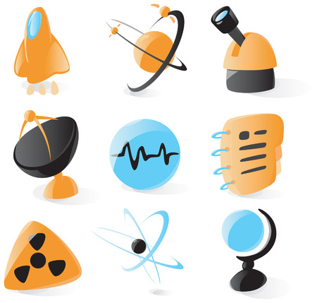 nuclear vector: Set of smooth and glossy science icons. Vector illustration.