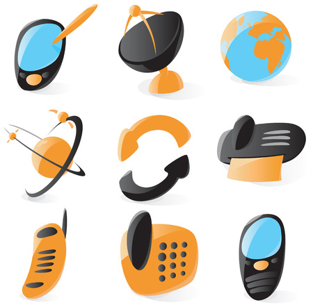 Set of smooth and glossy telecommunications icons. Vector illustration. Stock Vector - 5254983