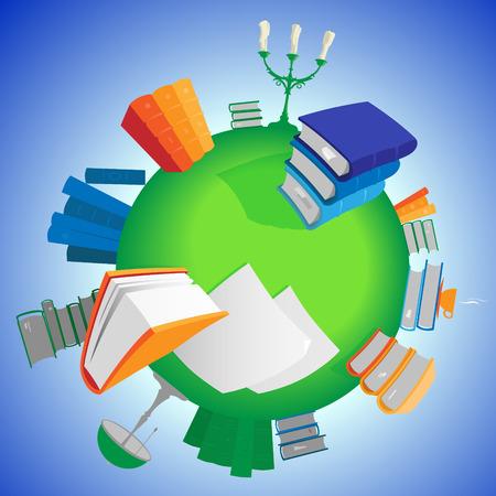 green planet: Monde de la connaissance: des livres multicolores sur la plan�te verte. Vector illustration. Illustration
