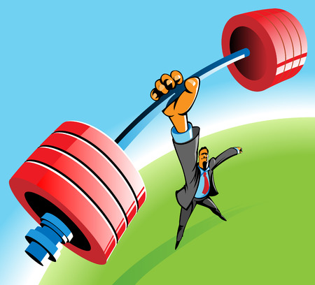 powerful: Powerful businessman lifting barbell by one hand. Vector illustration. Illustration