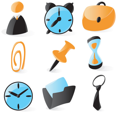 Set of smooth and glossy office icons. Vector illustration.  Vector