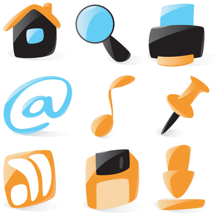 controls: Set of smooth and glossy website controls icons. Vector illustration. Illustration
