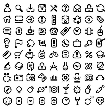 Stencil icons for web, computer, business, shopping, science, media, leisure, gambling and danger. Vector illustration. Vector