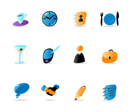 Bright business contacts and meeting icons. Vector illustration Vector