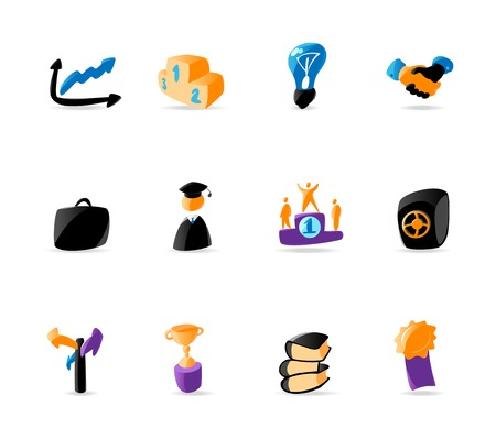 Bright business and finance icons. Vector illustration Vector