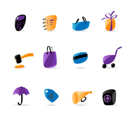 Bright finance and shopping icons. Vector illustration Vector