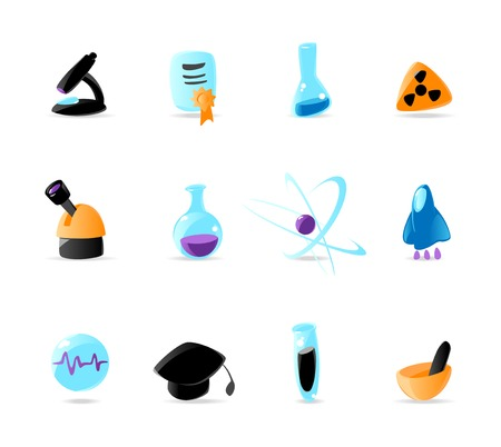 Bright science icons. Vector illustration Vector