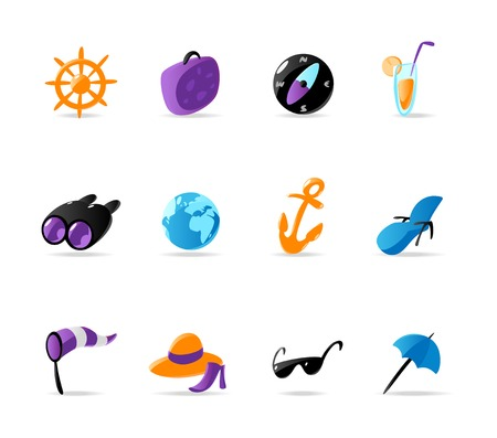 Bright travel and resort icons. Vector illustration Vector