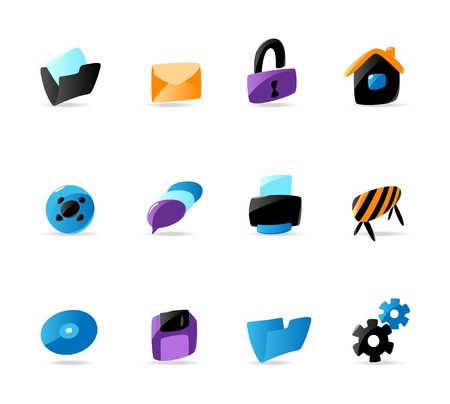 Bright website and interface icons. Vector illustration Vector