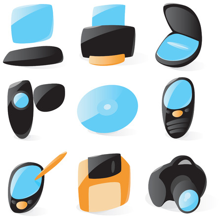 peripherals: Set of smooth and glossy pc peripherals icons. Vector illustration.