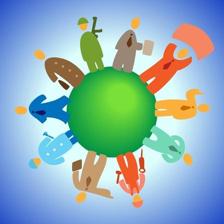 Cartoon personas en el planeta. Vector illustration