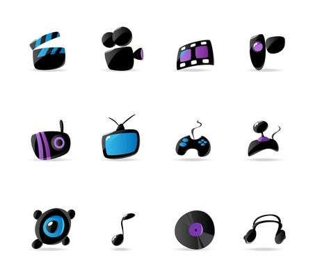 device disc: Bright media, game and music icons. Vector illustration Illustration