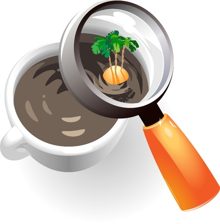 uninhabited: Coffee cup with tropic island. Vector illustration. Illustration