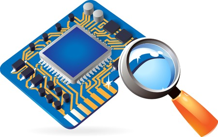 chipset: Blue computer chipset under magnifying glass. Vector illustration.