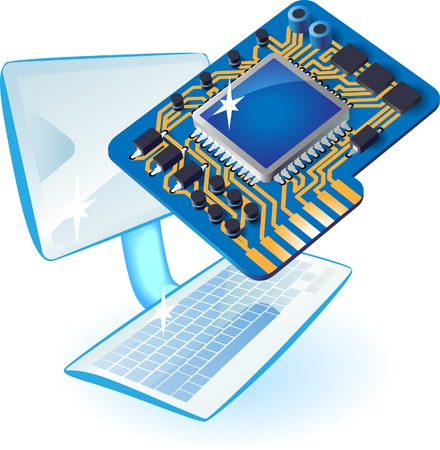 Computer and chip set concept. Vector illustration.