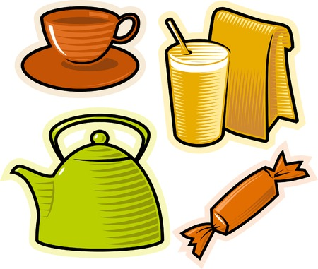 Objects of drinks, food and sweets. Vector illustration.